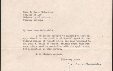 """[Lot of 2 - Typed Letters Signed by J. Edgar Hoover]"""