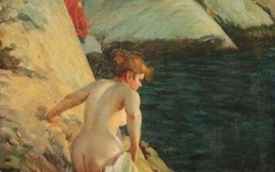 Manner of Anders Zorn A bather at the rocks