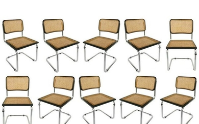 Marcel Breuer Knoll Cesca Set of 8 Cane Dining Chairs,
