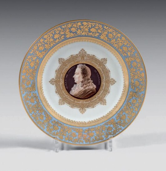Mid 19th century Sèvres porcelain plate. Mark in blue on the medallion with LP SEVRES 1843, gilder's mark, intaglio marks, inscribed on the reverse in manganese Chaulieu (Guillaume Amfrye de ) Poet, / born in Fontenai in the Norman Véxin 1639...
