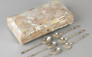 Mother of pearl spoon box filled with six silver