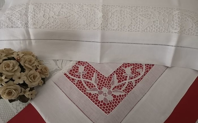 Museum !! Pure linen sheet with Burano di Venezia embroidery completely handmade - Linen - After 2000