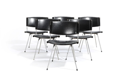 """NOT SOLD. Nanna Ditzel, Jørgen Ditzel: """"Badminton Chair"""". Six chairs with black laminated seat and..."""
