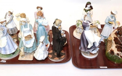 Nine Royal Worcester 'Upstairs Downstairs' figures; two further Royal Worcester...