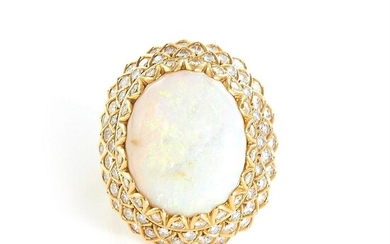 Opal and diamond dome ring