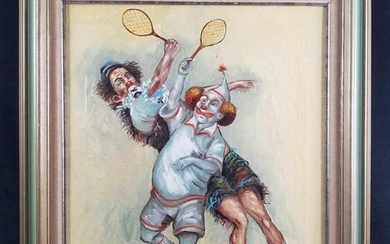 Original Acrylic Clowns Playing Tennis by M. Sahur