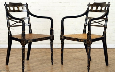 PAIR 19TH C. ENGLISH ADAMS STYLE OPEN ARM CHAIRS