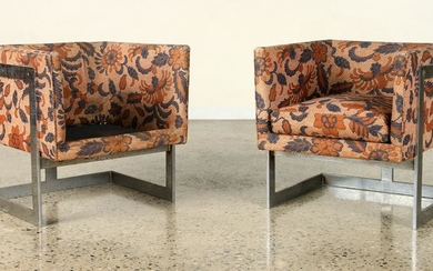 PAIR CUBE FORM CHROME UPHOLSTERED CHAIRS C.1970