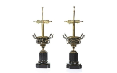 PAIR OF 19TH C BRONZE & BLACK MARBLE URNS AS LAMPS