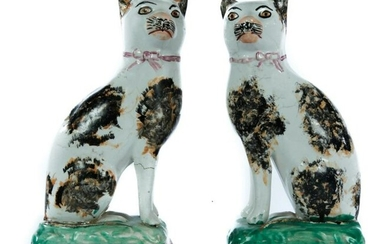 PAIR OF ENGLISH STAFFORDSHIRE CATS.