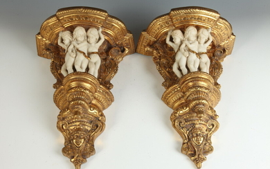 PAIR RENAISSANCE-STYLE CAST COMPOSITE AND GILT FIGURAL WALL BRACKETS AND...