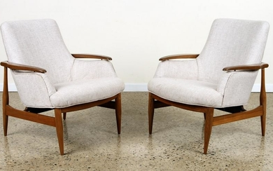 PAIR UPHOLSTERED CHAIRS MANNER OF FINN JUHL
