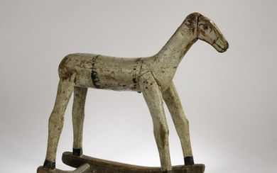 Painted wooden rocking horse. 19th century H. 58...