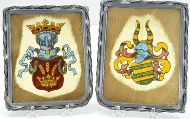 Pair Antique European Stained Glass Fragments