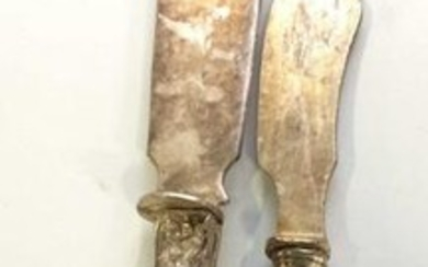 Pair Antique Sterling Silver Cement Cake Knives