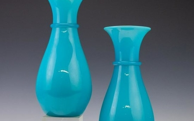 Pair Hand Blown Antique French Opaline Glass Vases