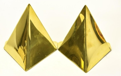 Pair Vintage Mid Century Brass Pyramid Bookends
