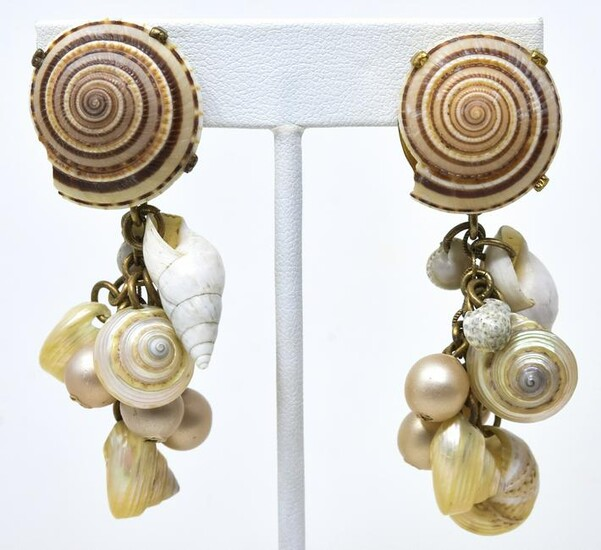 Pair YSL Couture C 1980 Natural Shell Clip Earring