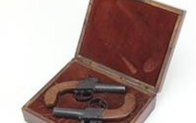 Pair of 19th century pocket percussion pistols, housed