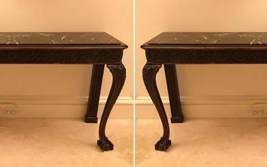 Pair of 19thC Irish Chippendale Hall Tables