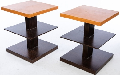 Pair of 3 Tiered Leather and Wood Side Tables EV1DJ