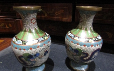 Pair of Chinese Cloisonne Decorated Vases with Dragon Motif ...