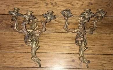 Pair of French Rococo Ormolu Candle Wall Sconces