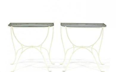 Pair of Iron and Glass Demilune Tables