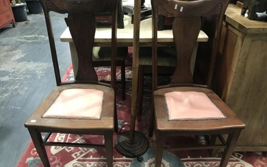Pair of Nouveau Style Dining Chairs (BH:100cm SH: 45cm)