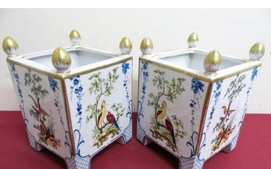 Pair of continental porcelain Versailles style planters of s...