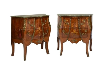 Pair of marble-top kingwood and marquetry bombé commode chests,...