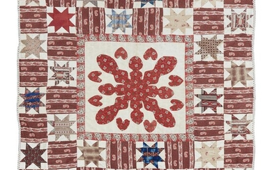 Pieced and appliqued quilt second half 19th century Medallion...