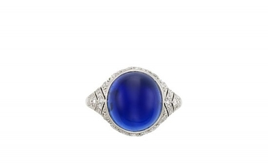 Platinum, Cabochon Sapphire and Diamond Ring