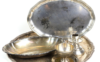 Lot of antique silver-plated items, trays, etc.