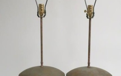 Pr. Glazed Terra Cotta Urns as Table Lamps