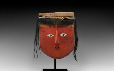 Pre-Columbian Chancay Mummy Mask with Wig
