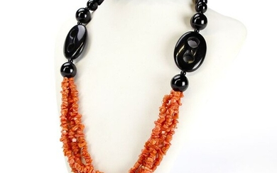 Precious necklace with Onyx and Mediterranean Coral EXTRA quality - 310×160×14 mm - 120 g