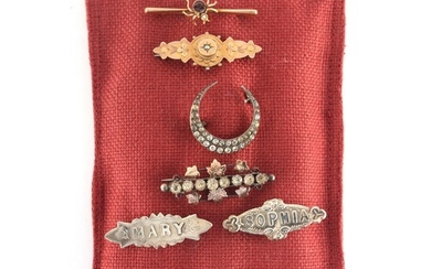 Property of a lady - a collection of seven brooches, late 19...