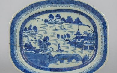 Repaired Chinese Blue & White Porcelain Tray