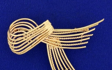 Ribbon Design Pin in 18K Yellow and Rose Gold