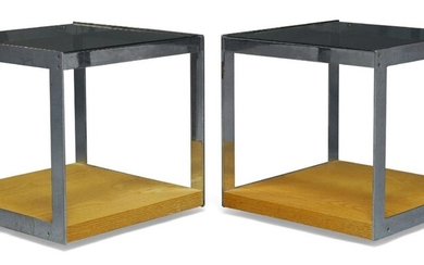 Richard Young (b.1930), a pair of chromed and teak side...