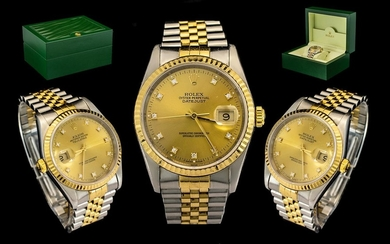 Rolex Oyster 18ct Gold and Steel Perpetual Datejust Gents Wr...