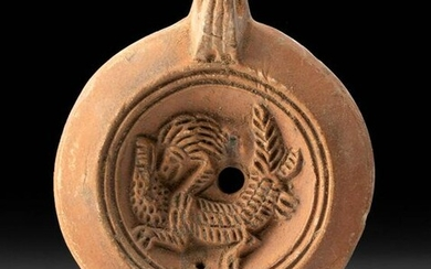 Roman Pottery Oil Lamp w/ Abstract Zoomorph