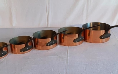 SET OF 5 GRADUATING FRENCH COPPER CULINARY PANS