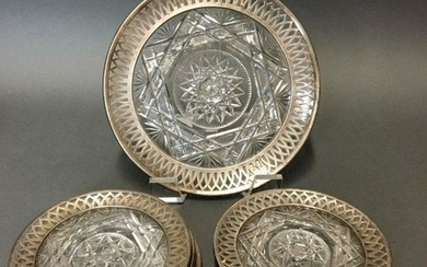 SET OF 7 ANTIQUE SILVER AND CUT CRYSTAL BERRY DISH