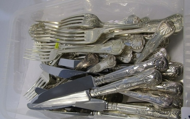 SILVER KINGS PATTERN CUTLERY, set of 8 dinner forks with 8 d...