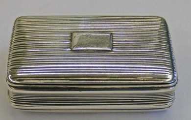 SILVER SNUFF BOX WITH REEDED DECORATION, BIRMINGHAM 1831 BY...