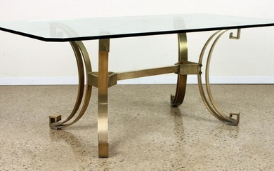 STYLISH HEAVY BRONZE AND GLASS TABLE C.1970
