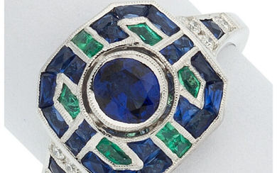 Sapphire, Emerald, Diamond, White Gold Ring The ring features...