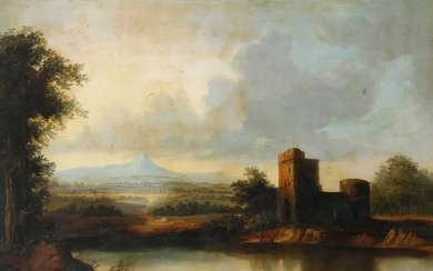 Scottish School 19th Century Landscape with a ruined...